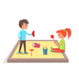 children play with toys in sandbox vector image