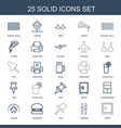 25 solid icons vector image vector image