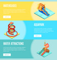 aqua park water slides isometric flyers set vector image vector image