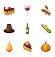 Autumn festival icons set cartoon style vector image vector image