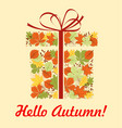 autumn greeting card of gift box with fallen leaf vector image