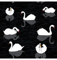 Bird water background swans and lake seamless patt vector image