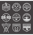 Blacksmith White Emblems On Black Background vector image vector image