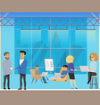 business meeting in creative coworking shared area vector image vector image