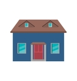cartoon blue house red door simple vector image