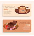 chocokate shop inscription banner set pastry vector image vector image