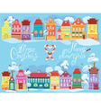 Christmas and New Year holidays card with small fa vector image