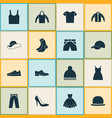 clothes icons set collection of half-hose dress vector image vector image