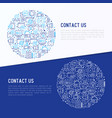 contact us concept in circle with thin line icons vector image vector image