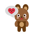 cute bear with heart into speech bubble vector image