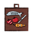 cutting board with food vector image