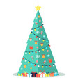 decorated christmas tree with garlands bells bows vector image vector image