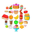 delicious bake icons set cartoon style vector image vector image