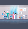 dentist with assistant drilling teeth of man vector image vector image