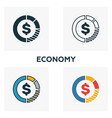 economy icon set four elements in diferent styles vector image vector image
