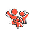 family greeting with hand up icon in comic style vector image vector image