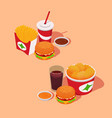 fast-food combo sets fries burgers nuggets sauces vector image