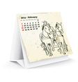 February 2014 desk horse calendar vector image vector image