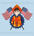 firefighter labor day vector image vector image