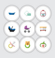 flat icon kid set of rattle nipple napkin and vector image vector image
