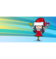 girl santa claus greeting card vector image vector image