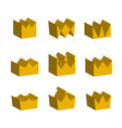 golden crowns three-dimensional on white isolated vector image vector image