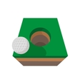 Golf ball on edge of hole cartoon icon vector image vector image