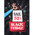 hand holding shopping bag with black friday sale vector image