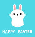 happy easter white bunny rabbit icon cute funny vector image vector image