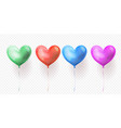heart balloons transparent set for valentines day vector image vector image