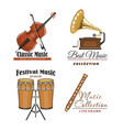 icons set for best classic music concert vector image vector image