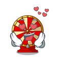 in love spinning wheel beside wooden cartoon table vector image vector image