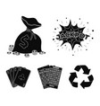 jack sweat a bag with money won cards for vector image