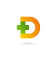 Letter D cross plus logo icon design template vector image vector image