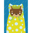 Little dog in a raincoat in the rain vector image vector image
