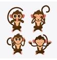 Monkey set cartoon animal design vector image