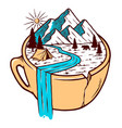 mountain views in cup vector image