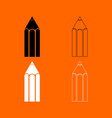 pencil black and white set icon vector image vector image