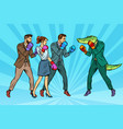 people boxing a reptilian crocodile vector image vector image