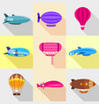 retro dirigibles icons set flat style vector image vector image