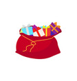 Santa claus bag with gifts isolated