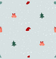 seamless pattern with christmas trees gifts and vector image vector image