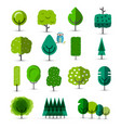 set of abstract green trees tree icons vector image vector image