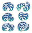 set six decorative floral curls vector image vector image