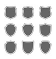 shield shape icons set gray label signs isolated vector image vector image