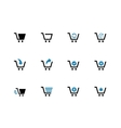 Shopping cart duotone icons on white background vector image vector image