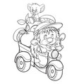sketch a hedgehog character driven a scooter vector image vector image