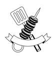 skewer and spatula barbecue ribbon vector image vector image