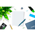 studying table mockup top view vector image