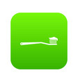 toothbrush icon digital green vector image vector image